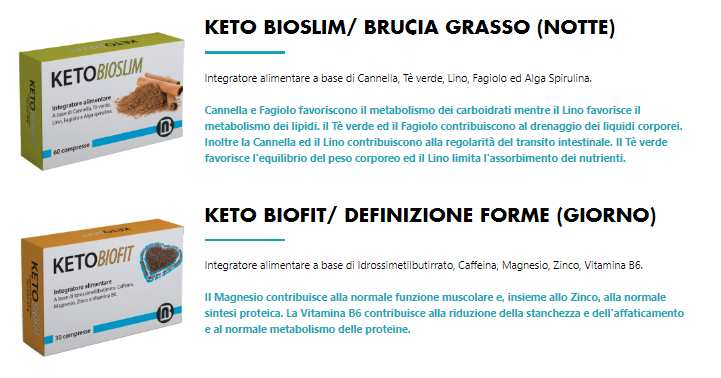 ingredienti di Keto Bio Slim e Keto Bio Fit